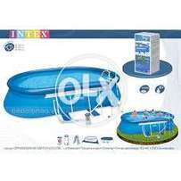"""INTEX 28192 (size:18'L/10'W/42""""D) above ground top ring air pool set."""