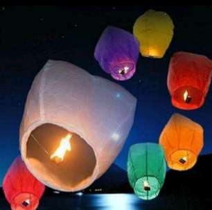Lampion Terbang warna warni