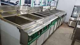 Duel basket deep fryer 50,000/branding table 25000/pizza oven 105000