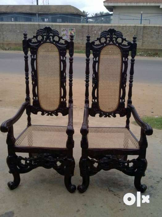 Show only image. antique high back chair - Antique High Back Chair - Bengaluru - Furniture - Raghuvanahalli