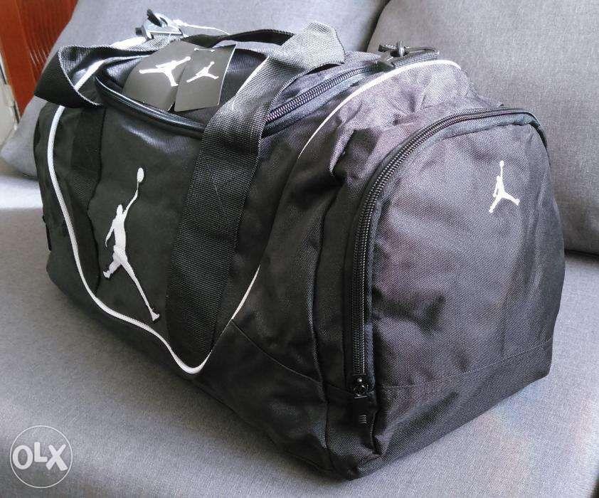 2bc0f8d8d0fb57 ... Nike Air Jordan Duffel Gym Bag in Black and White 9A1498210 NewUSA ...