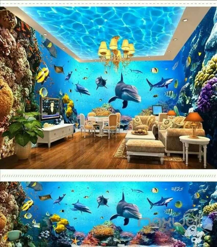 Wallpaper 3D Motif Bawah Laut Bukan Wallsticker