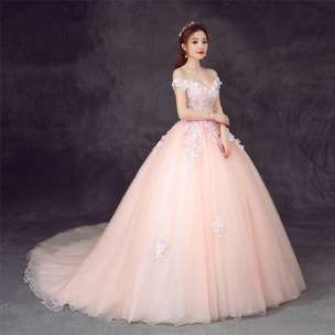 Open PO gaun premium peach colour feminim princess