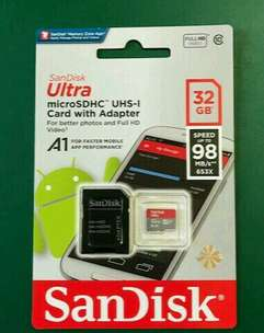 Sandisk Ultra Micro SDHC 32GB A1 Class10 Speed 98MBs - Original