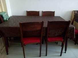 6 Chairs With Wood Dining Table For Sale