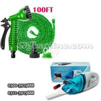 Combo of Hose Pipe 100 Ft+Car Vacuum Cleaner