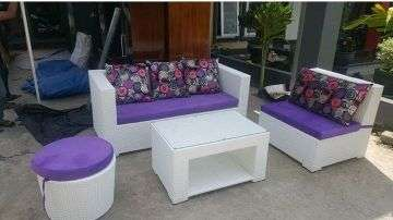 Sofa Set 3 2 Meja Oscar Puff Circle Ungu Putih Oscar Mix