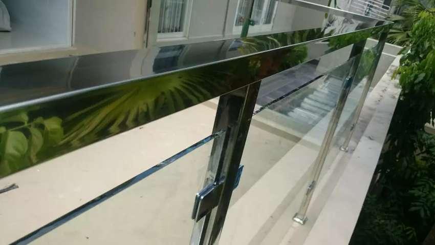 Pagar Rumah Minimalis Stenlis  railing tangga kaca tempered pagar stainlesssteel minimalis