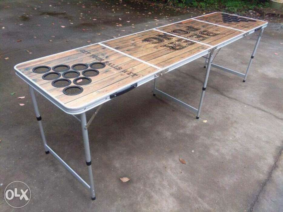 Wood Design Beerpong With Cupholders Holes Cup Beer Pong Table In
