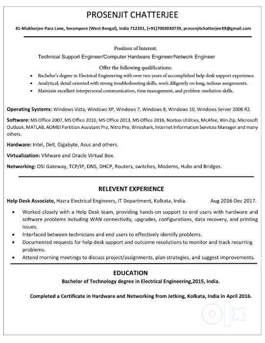 Seeking Job For the Post of Computer Hardware and Networking ...