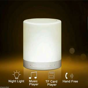 Smart touch portable lamp with bluetooth speaker