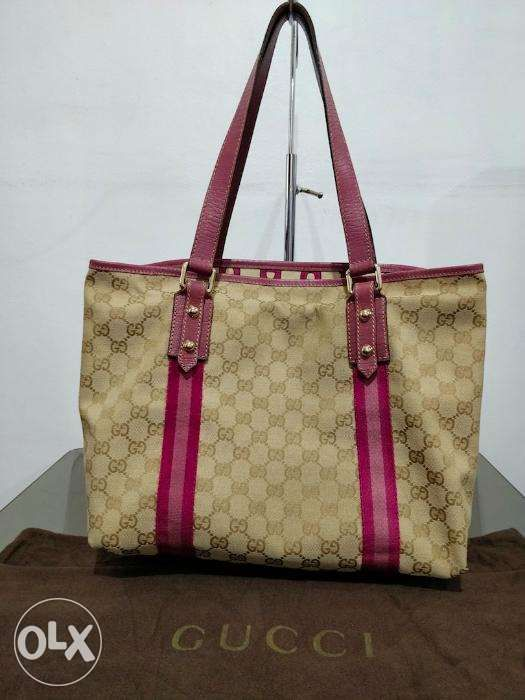 ab20aa949f5f Authentic Gucci bag Jolicoeur GG Supreme Large Tote Pink in Pasig ...