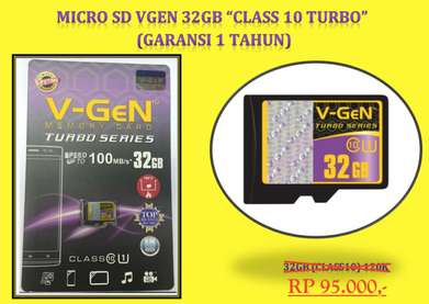 VGEN Micro SD 32GB Class 10 Turbo series 100mbps Garansi 1 Tahun