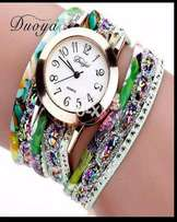 Multi coloured stylish bracelet ladies watch