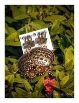 Golden scripted earrings