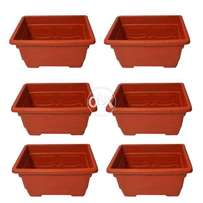 """Pack of 6 Flower Pots Square shaped 11 x 8.25 x 6.25"""""""