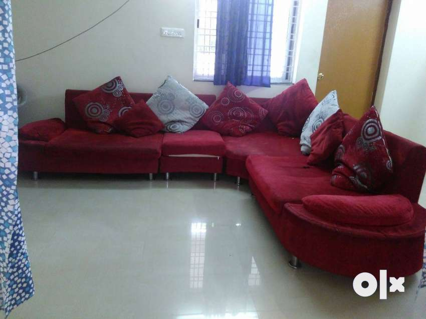L shape Red Suede Sofa Set With Throw Pillows - Sofa & Dining ...