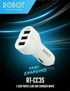 FAST CHARGING Car Charger Original ROBOT RT-CC3S Port 3 USB