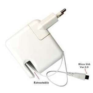 Mediatech Retracable USB 3.0 Charger AC Adapter Micro Usb - FN903