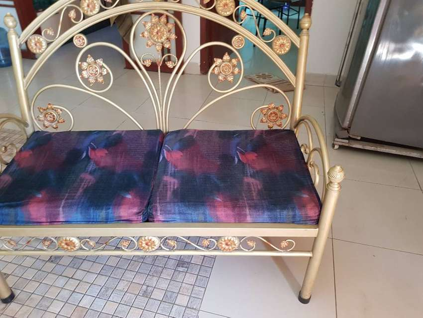 Stupendous Golden Polished 2Seater Iron Rod Sofa Pdpeps Interior Chair Design Pdpepsorg