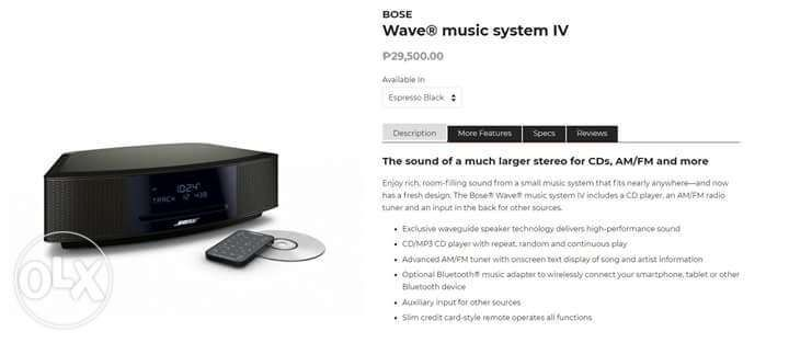 Bose Wave Music System Iv Espresso Black For Sale Philippines