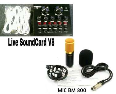 Paket recording live streaming Microphone Mic BM800 Live SoundCard V8