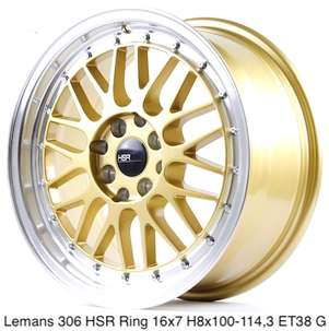 Velek 306-HSR-Ring-16x7-H8x100/1143-ET38-Gold-ML