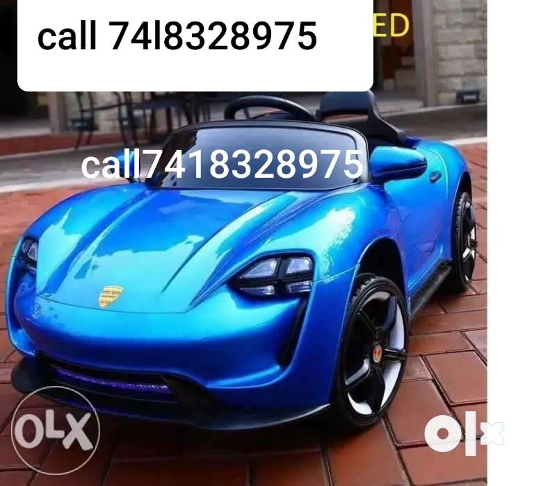 Blue Convertible Coupe With Kids Car Rechargeable Battery 0