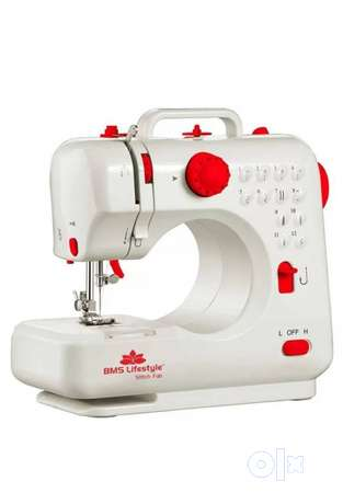 White And Red BMS Lifestyle Electric Sewing Machine