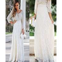 Nice Europe White Hollow Lace High Waist Maxi Skirt for Women