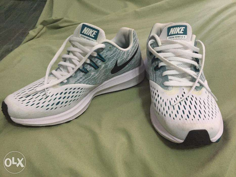 on sale 66df6 70e54 Nike Men White Teal Blue ZOOM WINFLO 4 Running Shoes ...