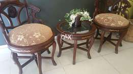 Gossip Chairs & Table In Sheesham Wood With inlay Work.