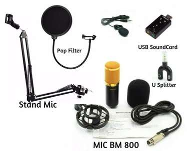 Paket Microphone BM800 stand mic pop filter clip on soundcard pop