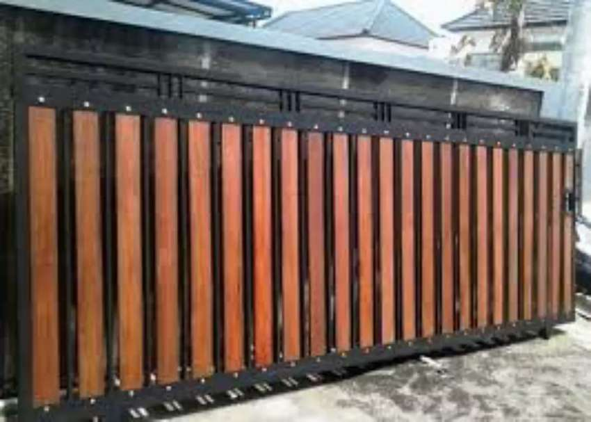 Terima Pesanan Pintu Pagar Besi Minimalis Kayu Wood Plank Jl