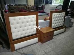 Single bed pair wth side table