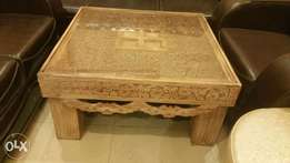 Hand made carving centre table set