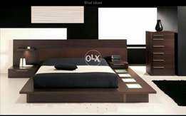 Lighting low profile wooden bed set