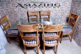 new pure wood dining table with six chairs