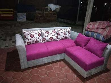 sofa real sudut ungu