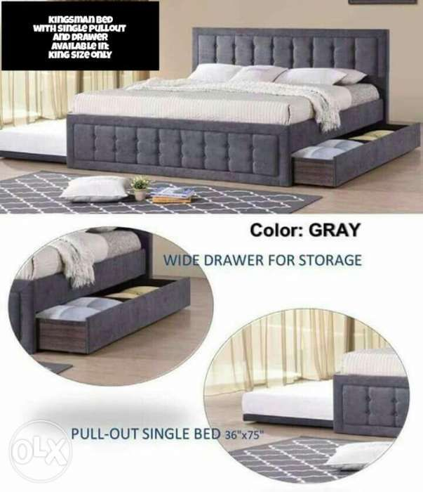 King size bed frame with pullout and drawer in Manila, Metro Manila ...