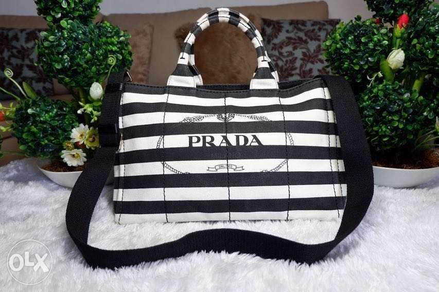 9d76ed86c54b1 Prada Canapa Medium Black and White Horizontal Stripes in Quezon ...
