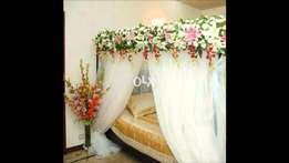 Bride Groom Bed Decoration with Artificial flowers