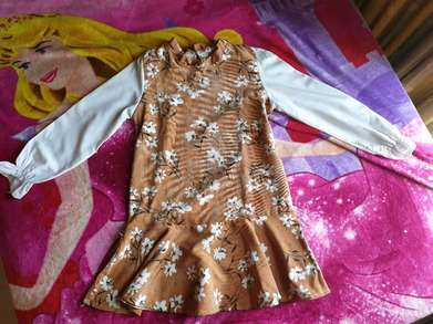 preloved baju dress wanita motif bunga bunga coklat
