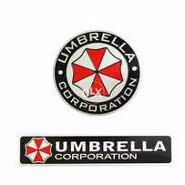 2 Pcs 3D Aluminum Umbrella Corporation Car Logo ATS-0187