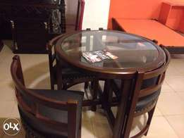 LALBAY BRAND Dining for 4 Persons Space saver Round compact sheesham