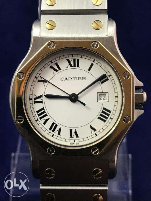 b5bcc91aaa4 Cartier Santos 18K Gold Stainless Steel Automatic Watch (Rolex Tudor) ...