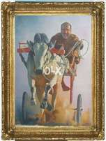 bull race Cultural painting oil on canvass