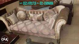 New three seater sofa | imported shaineel fabric | Victorian legs .
