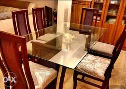 Six 6 Seater Dining with double glass 1 month used
