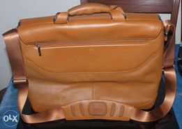Tumi Men Tan Leather and Canvas Briefcase Executive Computer Brown Bag c5d3c29f8efe8